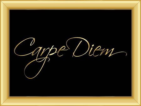 moulding: illustration of a basic golden frame with golden text Carpe Diem on black background