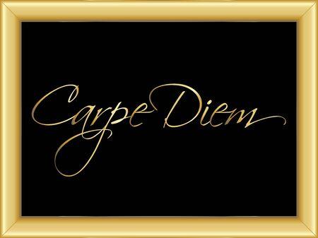 carpe diem: illustration of a basic golden frame with golden text Carpe Diem on black background