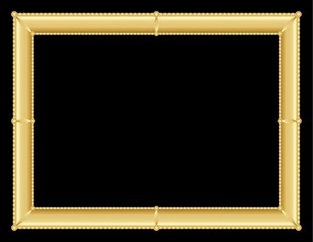room for text: illustration of an ornate golden frame with room for text on black background Illustration