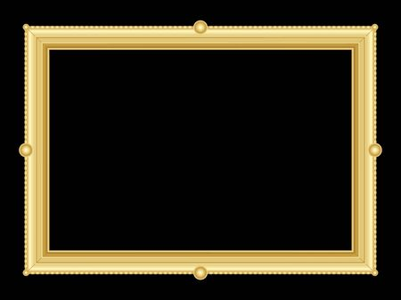 text room: illustration of an ornate golden frame with room for text on black background Illustration