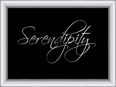 illustration of a basic silver frame with the word Serendipity, on black background, vector image, eps10