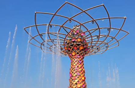 MILAN, ITALY - MAY 28, 2015: Expo 2015 feeding the planet, energy for life is attracting millions of people from the whole world till october 31. The tree of life