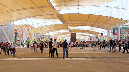 MILAN, ITALY - MAY 28, 2015: World Expo 2015 in this cradle of design with the theme feeding the planet, energy for life is attracting millions of people from the whole world till october 31
