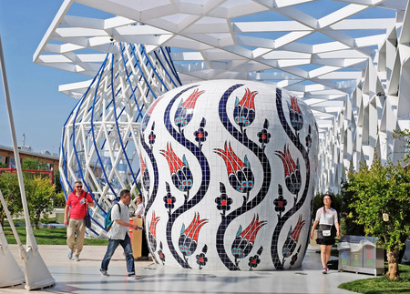 MILAN, ITALY - MAY 28, 2015: Expo 2015 feeding the planet, energy for life is attracting millions of people from the whole world till october 31. Turkisch pavilion