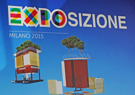MILAN, ITALY - MAY 28, 2015: Expo 2015 feeding the planet, energy for life is attracting millions of people from the whole world till october 31. Ad for Ferrero, a chocolate producer