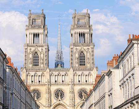 Gothic cathedral basilica of saint croix or the holy cross, in summer, in orleans, france, europe
