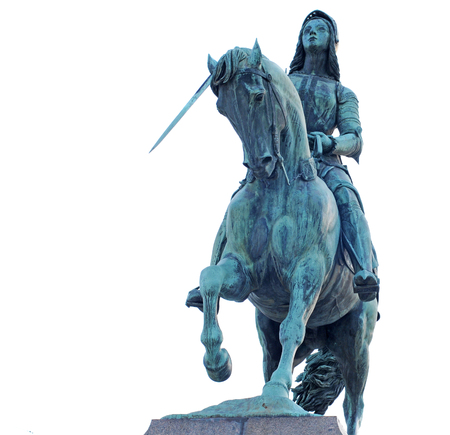 Bronze statue of Joan of Arc, the maid of orleans, on her horse, in orleans, france, europe, isolated on white