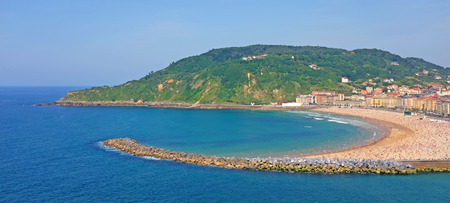 La concha or the shell, probably the most beautiful beach in europe, in san sebastian, basque country, spain