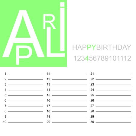 Jazzy birthday calendar April, vector illustration.