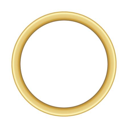 Illustration eines grundlegenden runden goldenen Rahmens mit Platz für Text auf weißem Hintergrund, Vektorbild, eps 10