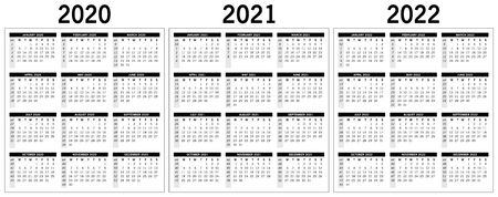 basic monochrome calendar 2020, 2021, 2022. Vector, eps 10