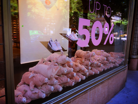 Showcase with piglets. Registration of a shop window. Sale