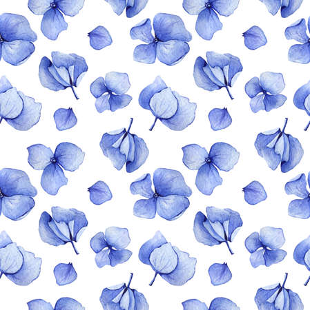 blue violet: Blue hydrangea watercolor seamless pattern. Flower background design. Hand drawn set of flowers and leaves, may be used as textile design and more. Botanical illustration. Stock Photo