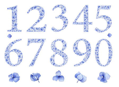 0 to 5: Blue floral watercolor hydrangea numbers set. Birthday anniversary figures 1, 2, 3,4,5,6,7,8,9,0 & flowers. Baby boy or girl party invitation card template or wedding table setting number decoration.