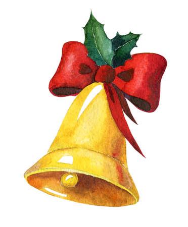 Goldene Aquarell Weihnachtsglocken mit rotem Band und Stechpalme auf weißem Hintergrund