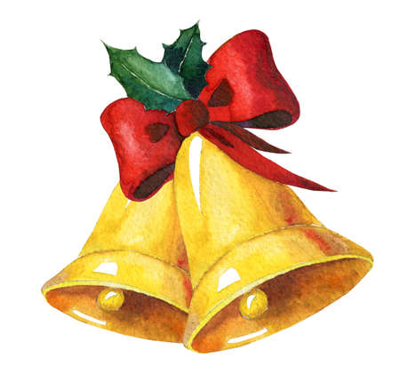 Golden watercolor christmas bells with red ribbon and holly on white background