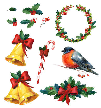 dcor: Christmas watercolor set with holly, red winter bird bullfinch, wreath, golden bells and candy cane. Can be used for wrapping paper or card design.