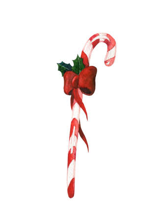 Watercolor christmas candy cane with red ribbon and holly on white background Stock Photo