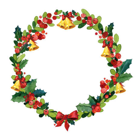 christmas plant: Christmas watercolor wreath with holly and bells Stock Photo
