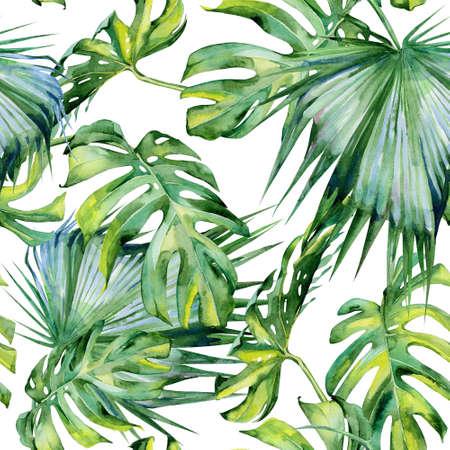 Naadloze aquarel illustratie van tropische bladeren, dichte jungle. Hand geschilderd. Banner met tropische zomer motief kan worden gebruikt als achtergrond textuur, inpakpapier, textiel of behang ontwerpen.