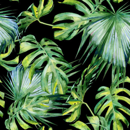 jungle plants: Seamless watercolor illustration of tropical leaves, dense jungle. Hand painted. Banner with tropic summertime motif may be used as background texture, wrapping paper, textile or wallpaper design.