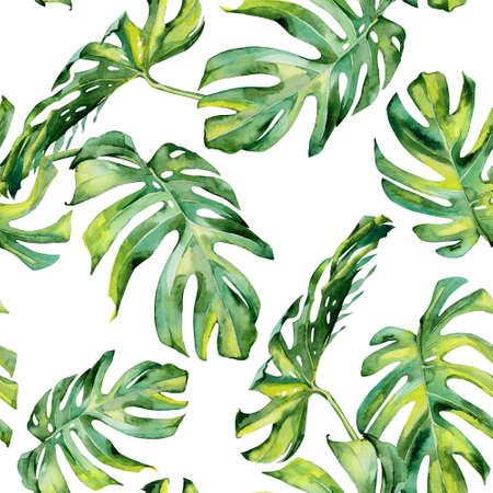 열대 나뭇잎의 원활한 수채화 그림, 빽빽한 정글. 손으로 그린. 열대 여름 모티브로 한 배너 용지, 섬유 또는 벽지 디자인 포장, 배경 질감으로 사 스톡 콘텐츠