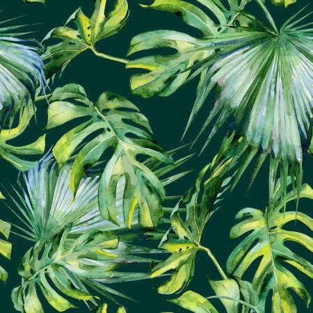 熱帯の葉の密なジャングルのシームレスな水彩イラスト。手描き。熱帯の夏をモチーフにしたバナーは背景テクスチャー、紙、テキスタイルや壁紙