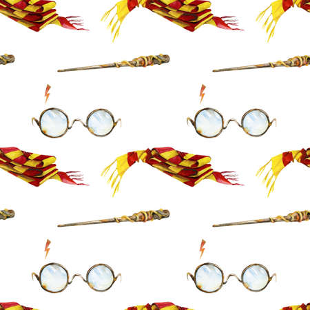 magical equipment: Seamless pattern. Round glasses and lighting. Red and yellow striped scarf. Magic wand for witches and wizards. Watercolor illustration. Can be used as Halloween decoration or wrapping paper design. Stock Photo