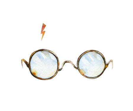 Round glasses and lighting. Watercolor illustration. Can be used as T-shirt print, Halloween textile decoration print, card, child wear decor or wrapping paper design. Stock Photo