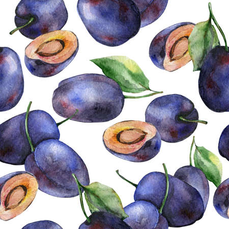 plums: Watercolor plums seamless pattern. Fruits design.