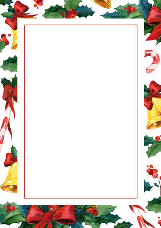 holyday: Winter holyday greeting card. Watercolor invitation card template. May be used for watercolor Christmas card with holly, golden bells, candy cane and red ribbon. Ornament festive design.