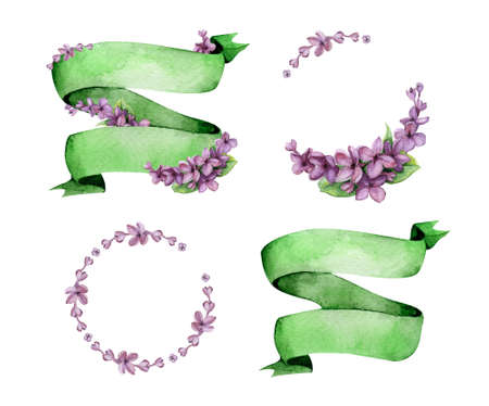 Colorful floral collection with lilac flowers. Beautiful pre-made logo template for your own design. Perfect for wedding, invitations and birthday cards. Green ribbon and violet lilac.