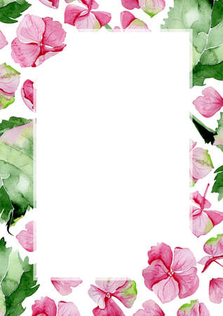 wedding table setting: Pink watercolor hydrangea flower frame. Floral greeting card. Watercolor invitation card template. May be used for wedding or birthday greeting card. Mothers day card.