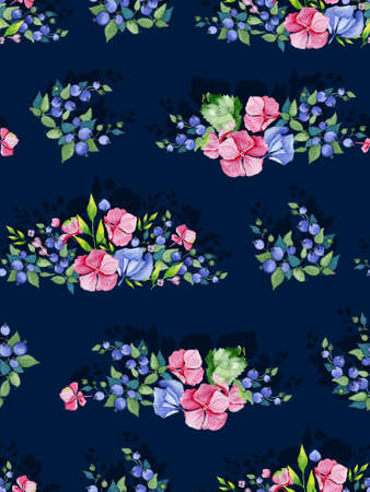 own: Colorful floral seamless pattern with multicolored flowers, leaves, branches, berries. Beautiful pre-made invitation template for your own design.Perfect for wedding card background or wrapping paper.