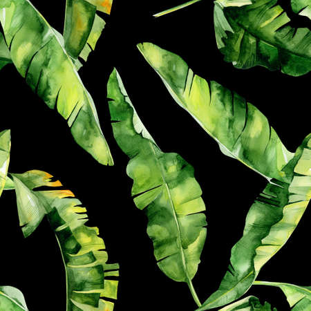 Seamless watercolor illustration of tropical leaves, dense jungle. Pattern with tropic summertime motif may be used as background texture, wrapping paper, textile, wallpaper design. Banana palm leaves.