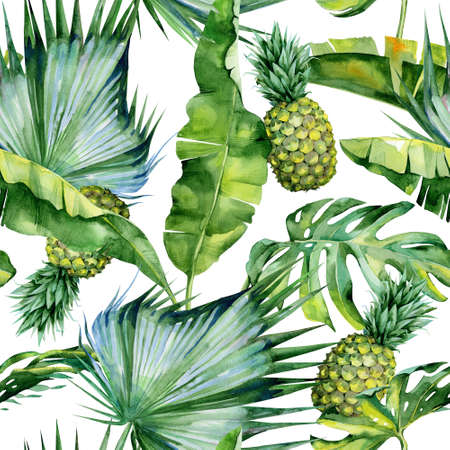 Seamless watercolor illustration of tropical leaves and pineapple, dense jungle. Pattern with tropic summertime motif may be used as background texture, wrapping paper, textile, wallpaper design.