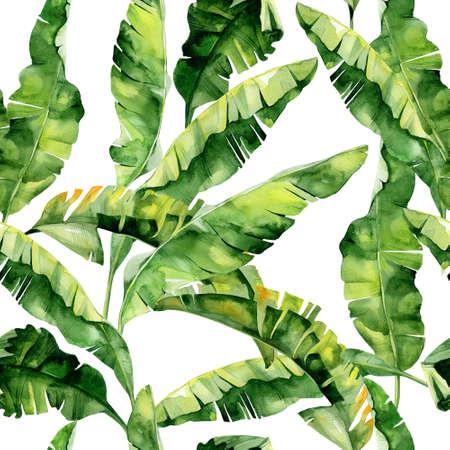 열 대 나뭇잎, 빽빽한 정글의 원활한 수채화 그림. 트로픽 여름 모티브로 패턴 배경 질감, 포장지, 섬유, 벽지 디자인으로 사용할 수 있습니다. 바 스톡 콘텐츠