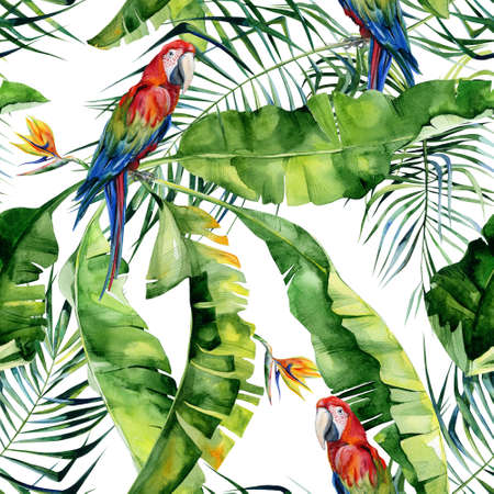 Seamless watercolor illustration of tropical leaves, dense jungle. Scarlet macaw parrot. Strelitzia reginae flower. Hand painted. Pattern with tropic summertime motif. Coconut palm leaves.