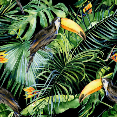Seamless watercolor illustration of toucan bird. Ramphastos. Tropical leaves, dense jungle. Strelitzia reginae flower. Hand painted. Pattern with tropic summertime motif. Coconut palm leaves. 免版税图像