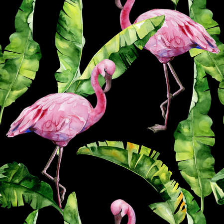 Tropical leaves, dense jungle. Banana palm leaves Seamless watercolor illustration of tropical pink flamingo birds. Trendy pattern with tropic summertime motif. Exotic Hawaii art background