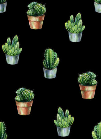 Seamless pattern with cacti watercolor. Cactus illustration can be used as print, home or garden decoration, wrapping paper, textile or wallpaper. Stock Photo