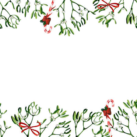 Watercolor Christmas illustration with mistletoe and red candy cane. Use it for wrapping paper, card or textile design. Hand drawn mistletoe twigs. Winter holiday window decor.