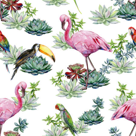 Watercolor succulents seamless pattern. Watercolor of medium-sized green Alexandrine parrot. Scarlet macaw parrot. Ara macao. Toucan bird. Ramphastos.Watercolor illustration of tropical pink flamingo.