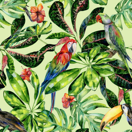 Watercolor seamless pattern of tropical leaves and birds. Toucan, scarlet macaw parrot and green Alexandrine parrot. Monstera leaves, schefflera or dwarf umbrella tree, croton plant painting.