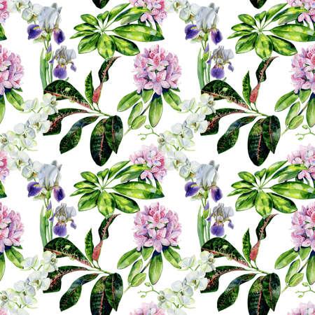 Nahtloses Muster der tropischen Blumen und der Iris. Innentapete mit rosa Azalee und weißen Orchideen. Exotische Pflanzen drucken.