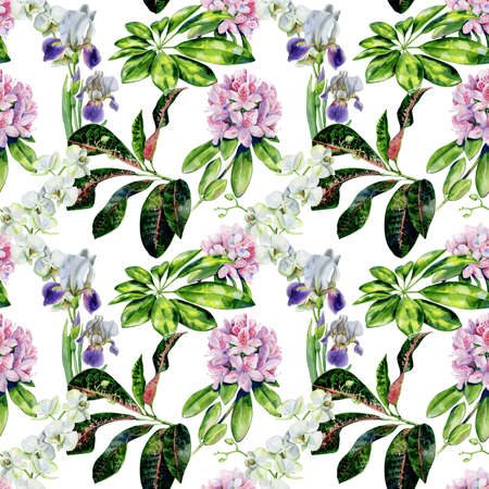 Tropical flowers and iris seamless pattern. Interior wallpaper with pink azalea and white orchids. Exotic plants print. 스톡 콘텐츠
