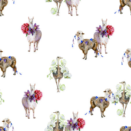 Watercolor seamless pattern with rainbows, ostrich and lids. Use as wallpaper and textiles. Nursery room decor or childrens clothing illustration.