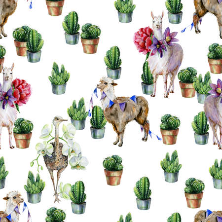 Watercolor seamless pattern with alpaca, llama, ostrich and cactus. Use as wallpaper print or textile design. Nursery room decor or childrens clothing illustration.