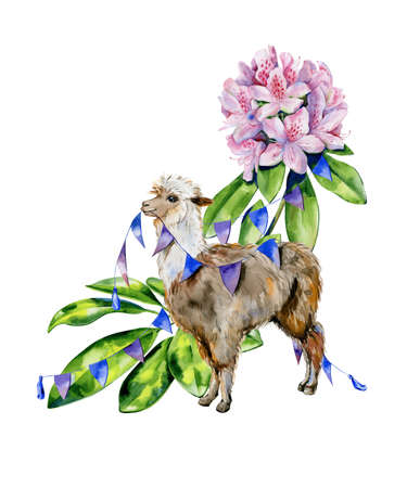 Watercolor cartoon illustration of pink flowers with pink rhododendron flowers, azalea, schefflera leaves. Interior artwork and nursery room decoration. Fantasy animal llama print.