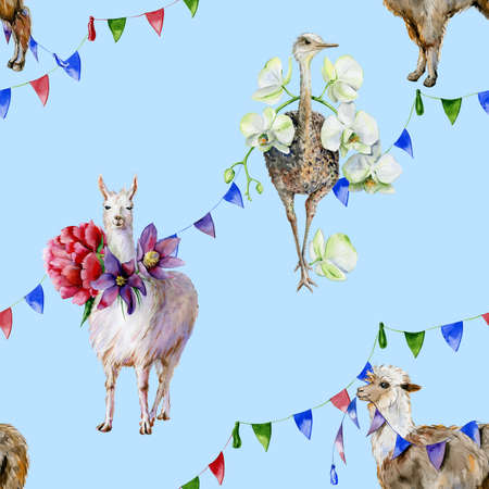 Watercolor alpaca, cute llama and ostrich with orchids, peonies and ribbons. Use as wallpaper, textiles, nursery room decor and childrens clothing illustration.
